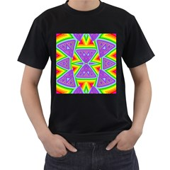 Trippy Rainbow Triangles Men s Two Sided T-shirt (Black)