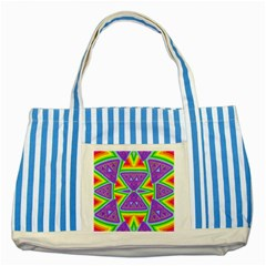 Trippy Rainbow Triangles Blue Striped Tote Bag