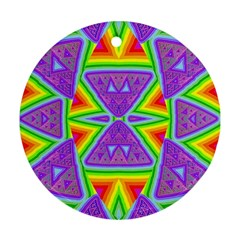 Trippy Rainbow Triangles Round Ornament (two Sides)
