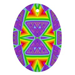 Trippy Rainbow Triangles Oval Ornament (two Sides)