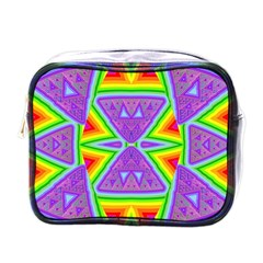 Trippy Rainbow Triangles Mini Travel Toiletry Bag (one Side)