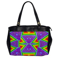 Trippy Rainbow Triangles Oversize Office Handbag (one Side)
