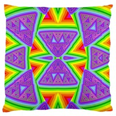 Trippy Rainbow Triangles Large Cushion Case (Two Sided)