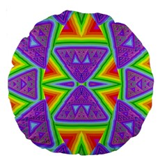 Trippy Rainbow Triangles 18  Premium Round Cushion