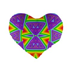 Trippy Rainbow Triangles 16  Premium Heart Shape Cushion