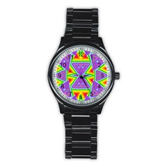 Trippy Rainbow Triangles Sport Metal Watch (black)