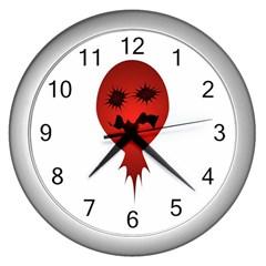 Evil Face Vector Illustration Wall Clock (silver)