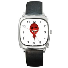 Evil Face Vector Illustration Square Leather Watch