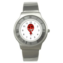 Evil Face Vector Illustration Stainless Steel Watch (slim)