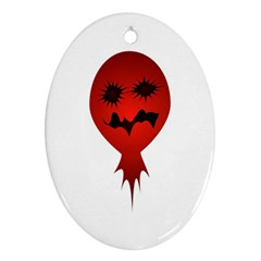 Evil Face Vector Illustration Oval Ornament (Two Sides)