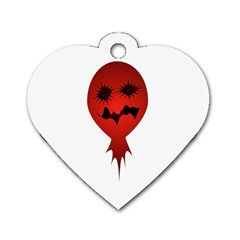Evil Face Vector Illustration Dog Tag Heart (two Sided)