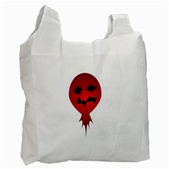 Evil Face Vector Illustration White Reusable Bag (Two Sides)