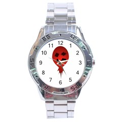 Evil Face Vector Illustration Stainless Steel Watch