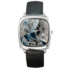Feeling Blue Square Leather Watch