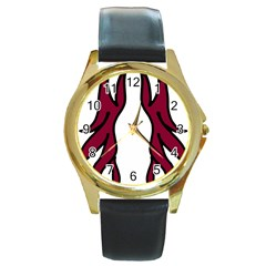 Dancing Fire 2 Round Leather Watch (gold Rim)