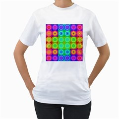 Rainbow Circles Women s Two-sided T-shirt (White)