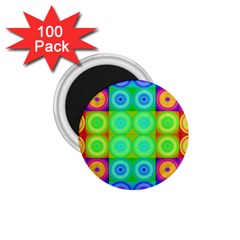 Rainbow Circles 1 75  Button Magnet (100 Pack)