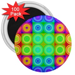 Rainbow Circles 3  Button Magnet (100 Pack)