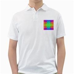 Rainbow Circles Men s Polo Shirt (White)