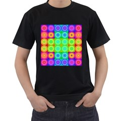 Rainbow Circles Men s Two Sided T-shirt (Black)