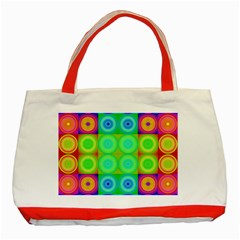 Rainbow Circles Classic Tote Bag (Red)