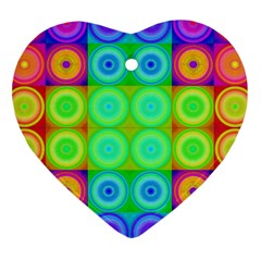 Rainbow Circles Heart Ornament (Two Sides)