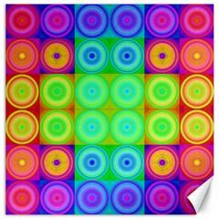 Rainbow Circles Canvas 16  x 16  (Unframed)