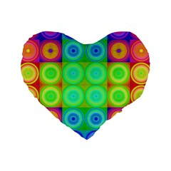 Rainbow Circles 16  Premium Heart Shape Cushion