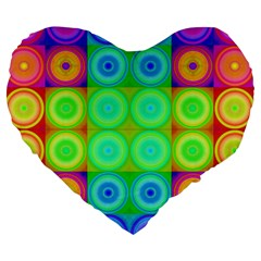 Rainbow Circles 19  Premium Heart Shape Cushion
