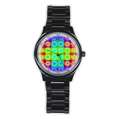 Rainbow Circles Sport Metal Watch (Black)