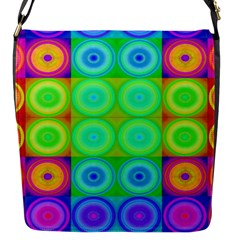 Rainbow Circles Flap Closure Messenger Bag (small)