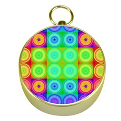 Rainbow Circles Gold Compass