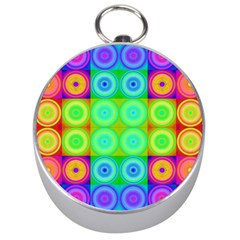 Rainbow Circles Silver Compass