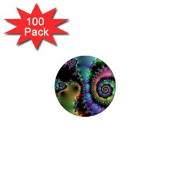 Satin Rainbow, Spiral Curves Through the Cosmos 1  Mini Button Magnet (100 pack)
