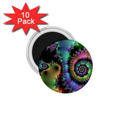 Satin Rainbow, Spiral Curves Through The Cosmos 1 75  Button Magnet (10 Pack)