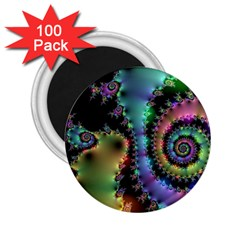 Satin Rainbow, Spiral Curves Through The Cosmos 2 25  Button Magnet (100 Pack)