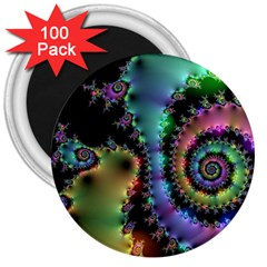 Satin Rainbow, Spiral Curves Through the Cosmos 3  Button Magnet (100 pack)