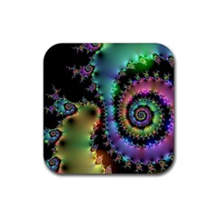 Satin Rainbow, Spiral Curves Through The Cosmos Drink Coaster (square)