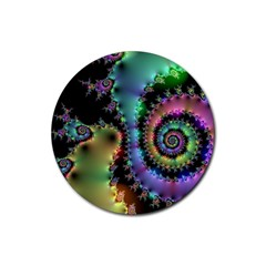 Satin Rainbow, Spiral Curves Through The Cosmos Drink Coasters 4 Pack (round)