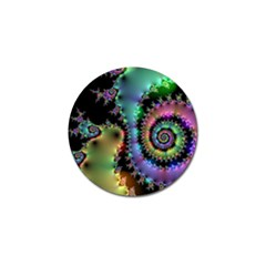 Satin Rainbow, Spiral Curves Through the Cosmos Golf Ball Marker 4 Pack