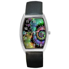 Satin Rainbow, Spiral Curves Through The Cosmos Tonneau Leather Watch