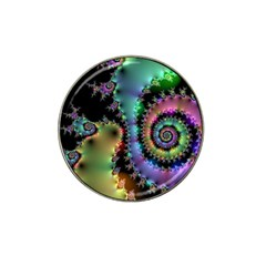 Satin Rainbow, Spiral Curves Through The Cosmos Golf Ball Marker (for Hat Clip)
