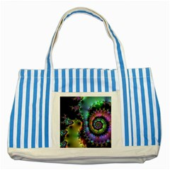 Satin Rainbow, Spiral Curves Through The Cosmos Blue Striped Tote Bag