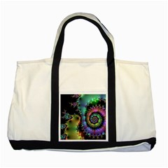 Satin Rainbow, Spiral Curves Through the Cosmos Two Toned Tote Bag