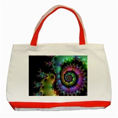 Satin Rainbow, Spiral Curves Through The Cosmos Classic Tote Bag (red)