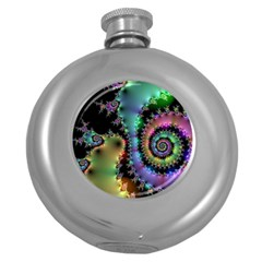 Satin Rainbow, Spiral Curves Through The Cosmos Hip Flask (round)