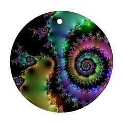 Satin Rainbow, Spiral Curves Through the Cosmos Round Ornament (Two Sides)