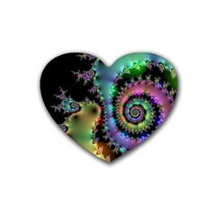Satin Rainbow, Spiral Curves Through the Cosmos Drink Coasters 4 Pack (Heart)