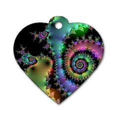 Satin Rainbow, Spiral Curves Through The Cosmos Dog Tag Heart (one Sided)