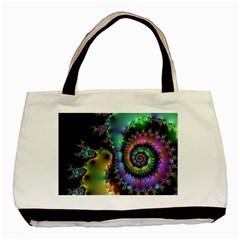 Satin Rainbow, Spiral Curves Through the Cosmos Twin-sided Black Tote Bag